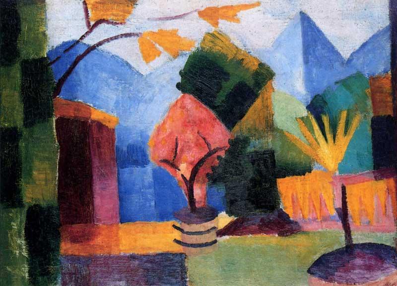 August Macke, Jardin sur le lac de Thoune, 1913