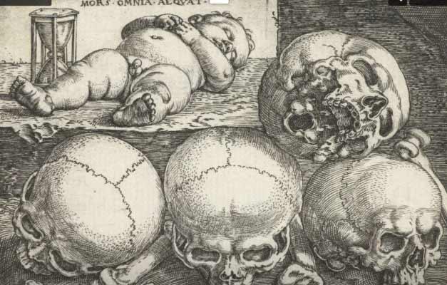 Barthel Beham, Enfant endormi avec quatre crânes et un sablier, 1540