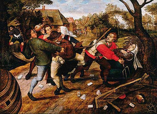 Jean Brueghel et Gillis Mostaert (d'après un dessein de Brueghel l'Ancien), La rixe de paysans, 1530