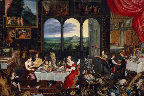 Jan Brueghel l'Ancien et Pierre Paul Rubens, Allégorie de l'ouïe, du toucher et du goût, 1618