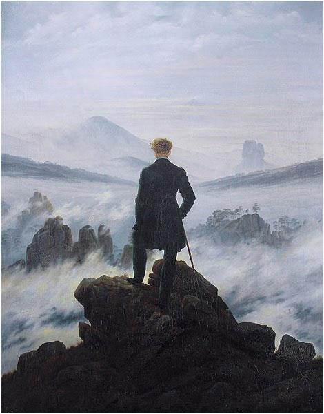 Caspar David Friedrich, Le voyageur au-dessus de la mer de nuages, 1817 (oeuvre du romantisme allemande)