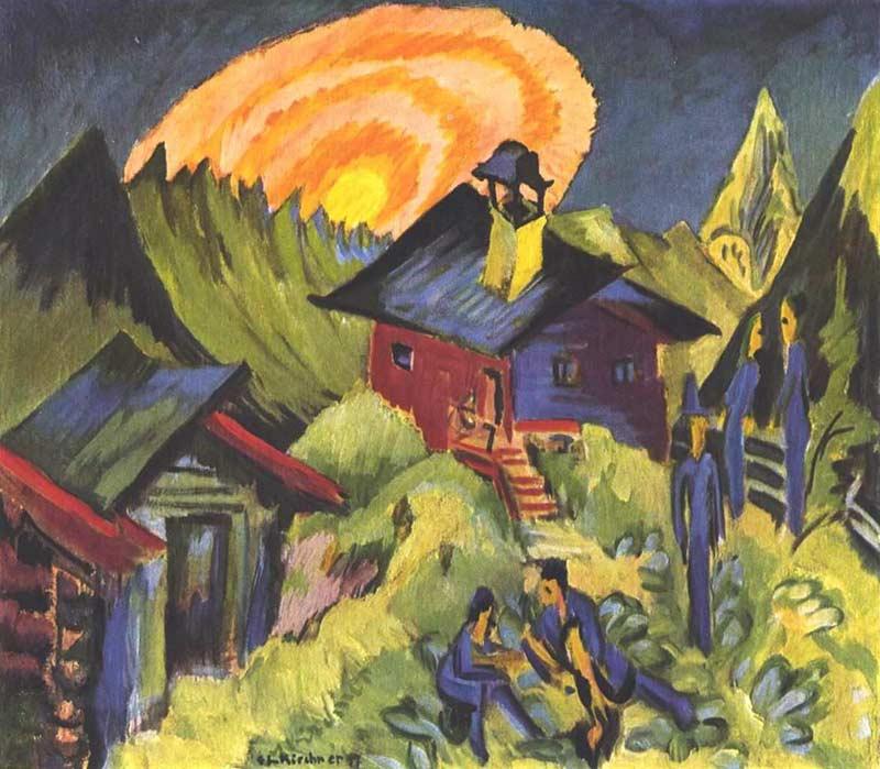 Ernst Ludwig Kirchner, Lever de la lune sur la Stafelalp, 1917