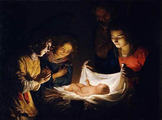 Gerard van Honthorst, L'adoration de l'enfant, 1620