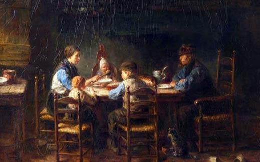 Jozef Israëls, Famille de paysans à table, 1882