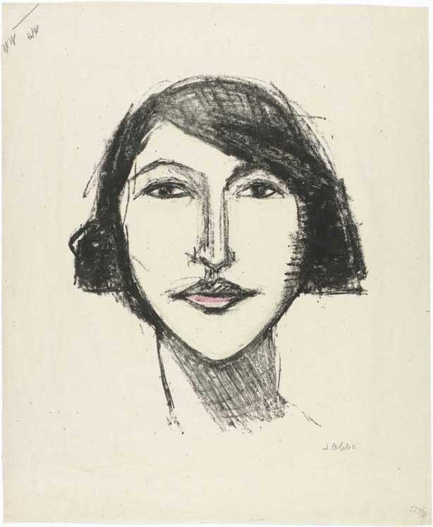 Jussuf Abbo, Jeune femme, lithographie, 1922