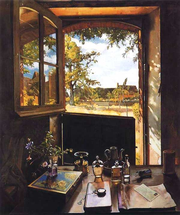 Konstantin Somov, Porte ouverte sur un jardin, 1934