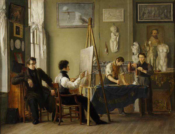 Petrus van Schendel (1806-70), L'Artiste dans son atelier