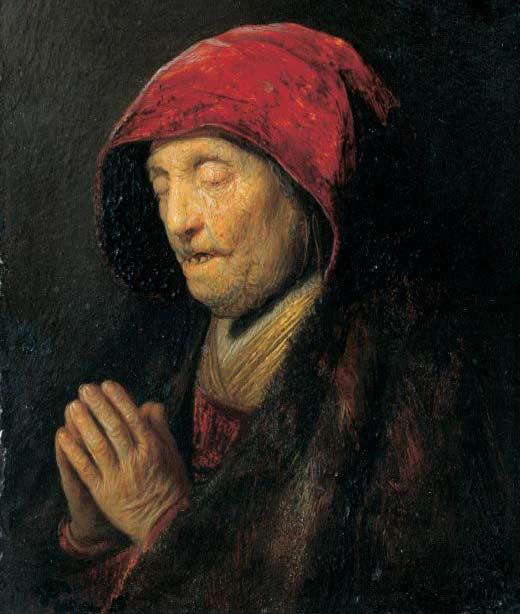 Rembrandt, Vieille femme en prière, 1629